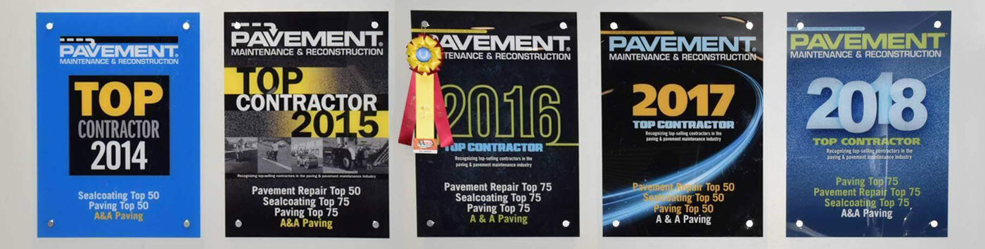 Testimonial Featured image of the 5 award won by A&A Paving