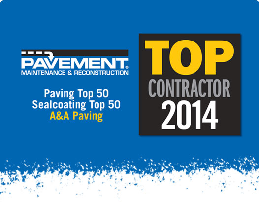 Pavement Top Contractor 2014 Award - A & A Paving